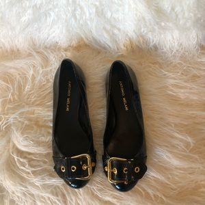 Antonio melani flats Black with gold buckle size 6